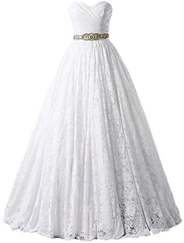 SOLOVEDRESS Women's Ball Gown lace Princess Wedding Dress 2017 Sash Beaded Bridal Evening Gown (US 4,White)