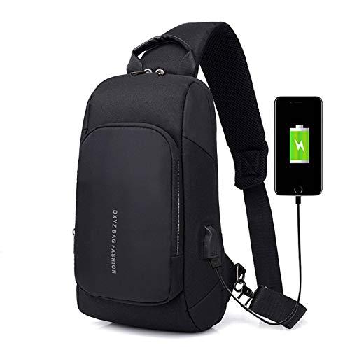 N-B Bolsa de Pecho para Hombre Carga USB Inteligente Negocios Casual Mochila pequeña Gran Capacidad Lona de Viaje Poliéster Impermeable Multifuncional Ligero