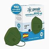 10 uds. Mascarillas FFP2 NR color fabricación 100% Española varios colores, Homologadas CE, EN 149: 2001+A1: 2009, 5 capas con filtrado de más del 95% - ProAir - FFP2 color Verde Militar