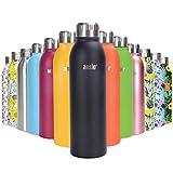 ANSIO Botella de Agua, Frasco de vacío y Botella Agua Acero Inoxidable Botella de Bebidas con Aislamiento Doble Pared Botella de Agua Caliente y fría sin BPA al Aire Libre - 750ML -Negro