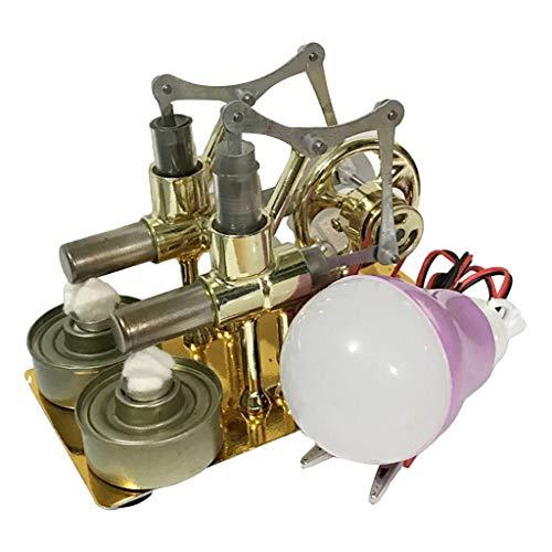 Sharplace Générateur D'électricité à Moteur à Air Chaud 2 Cylindres Stirling Moteur Modèle Générateur de Vapeur Physique Jouet éducatif