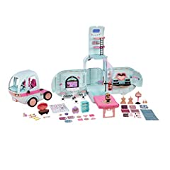 L.O.L. Surprise  2 in 1 glamper includes 55+ surprises Includes 1 brand new, exclusive LOL surprise doll Includes 10+ hangout areas including bunk beds, light up pool and slide, fashion runway, BBQ patio and D.J. Booth Front detaches to become a sepa...