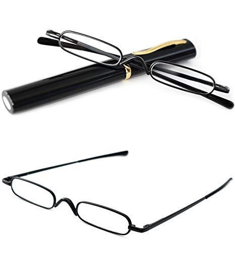 VEVESMUNDO Reading Glasses Men Women Compact Metal Eyeglasses Eyewear With Case (Black, 1.0)