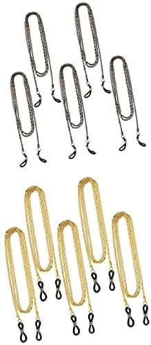 GDEVNSL 10 Piezas de anteojos de Metal mejorados con Cadena para el Cuello, anteojos de Lectura, anteojos de Sol, Cables de Soporte