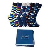 Vkele Bunte Socken (Kariert und Streifen und Punkte Muster), Dunkel 6 Paar 39-42 Perfekt als Geschenk