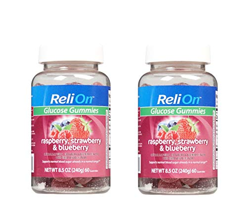 ReliOn Glucose Gummies Raspberry, Strawberry & Blueberry to Support Normal Blood Sugar 60 Count (Pack of 2)