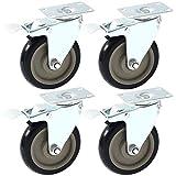 4 Pack Caster Wheels Swivel Plate Stem Break Casters On Black Polyurethane...