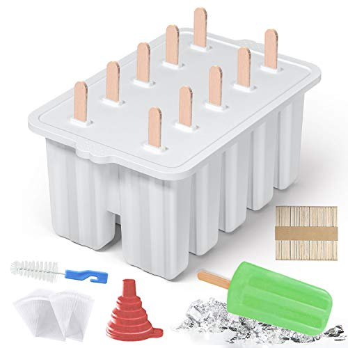 10 Cavities Homemade Popsicle Molds Set , Food Grade Silicone Frozen Ice Popsicle Maker-BPA Free, Contain 100 Popsicle Sticks, 100 Popsicle Bags Popsicle Mold Silicone Popcycle Mold