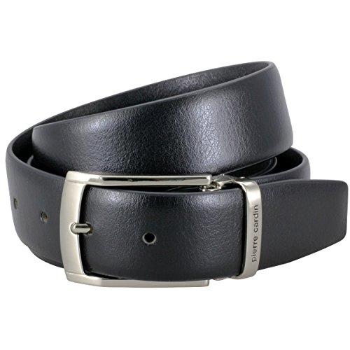 Pierre Cardin ceinture homme de cuir de vachette, 30 mm large et 3,8 mm fort, ajustable, ceinture, ceinture de cuir, ceinture classique, noir, Größe/S