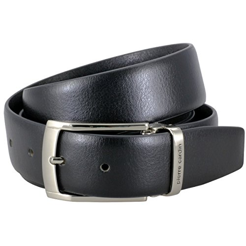 Pierre Cardin Mens leather belt/Mens belt, leather belt curved with metal loop, black, Größe/Size:95, Farbe/Color:noir