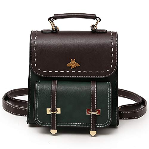 SOOKi Little Bee Vintage Women Backpack Simple Style Backpack College Backpack Bag Purse Stylish Crossbodybag- Dark green
