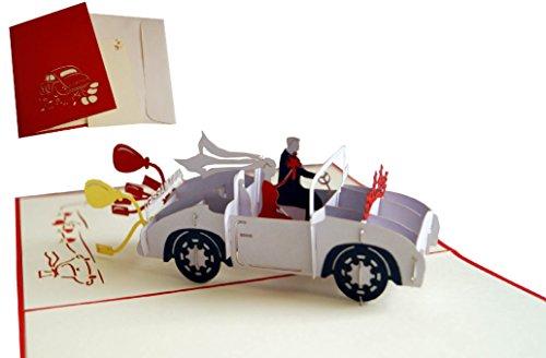LIN-POP UP Karten Hochzeitskarten, Hochzeitseinladungen, 3D Karten Grußkarten Hochzeit, Hochzeitsglückwunsch, Hochzeit Auto, Hochzeitskarte Glückwunsch,