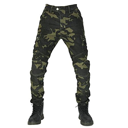 JIASHIQI Herren Motorradhosen/Hose mit Schutzfutter, Aramid Moto Motorradhosen,Jeans Bikerhose (Color : Camouflage, Size : 28)