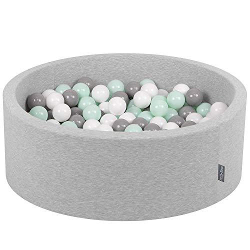 KiddyMoon Bällebad 90X30cm/300 Bälle ∅ 7Cm Bällepool Mit Bunten Bällen Für Babys Kinder Rund, Hellgrau:Weiß/Grau/Minze