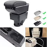 Armrest for f orm fiesta 3 mk7 2011-2018 Armrest Box Car Centerコンソール収納ボックスアームの残り充電機能7 USBポートダブルスペース (Color : Beige)
