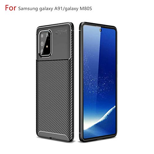 AILZH Handyhülle für Samsung Galaxy A91/Galaxy M80S/Galaxy S10 lite Hülle Weiches TPU Silikon Handyhülle Schutzhülle Anti-Schock Stoßfänger Stoßfest Shockproof Bumper Cover Carbon-Faser Hülle(schwarz)