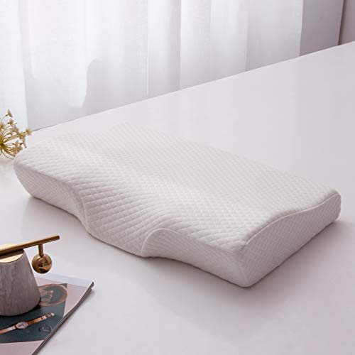 L LOVSOUL Memory Foam Pillow Standard Size Pillow for Neck Pain Contoured Support Bed Pillows for Side Sleepers,Back and Stomach Sleepers with Removable Bamboo Pillowcase
