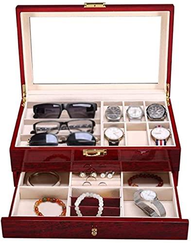XiangRuiDa 6-Slot Watch Watch Caja de Almacenamiento Caja de Almacenamiento de joyería de 2 Niveles Organizador de Pantalla con Accesorios Cojines extraíbles y Hebilla de Metal Beautiful