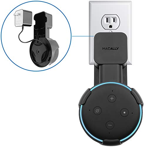 Macally Outlet Echo Dot Wall Mount Holder for Amazon Alexa 3rd Gen Speaker - Compact Bracket Stand Saves Home & Kitchen Counter Space - Plug In Hanger Accessories without Messy Wires or Screws - Black