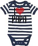 Kleckerliese Body de manga corta para bebé con texto 'I Love Papa'. Azul marino. 6-12 Meses