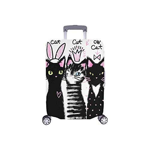 InterestPrint Watercolor Cute Black Cats Travel Luggage Cover Suitcase Baggage Protector Fits 18'-21' Luggage