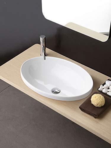 Softly Waschbecken Badezimmer oval mit Loch Wasserhahn_59_x_42_cm