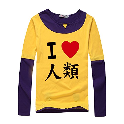 HOLRAN No Game No Life Sora Cosplay Costume Hero Tshirt tee (Large, Yellow)