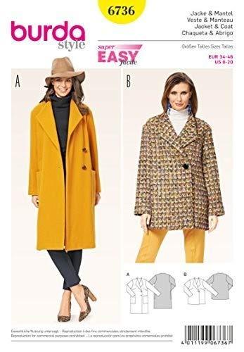 Burda Schnittmuster 6736Schnittmuster Jacke und Mantel Weiß