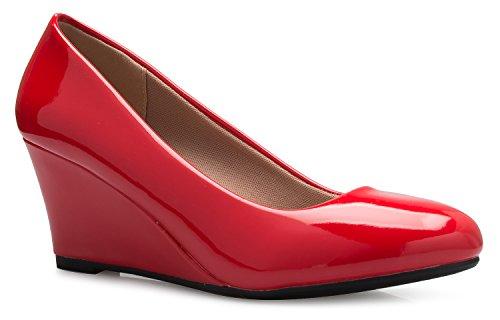 Olivia K Women's Adorable Low Wedge Heel Shoe - Easy Low Pumps - Basic Slip On, Comfort