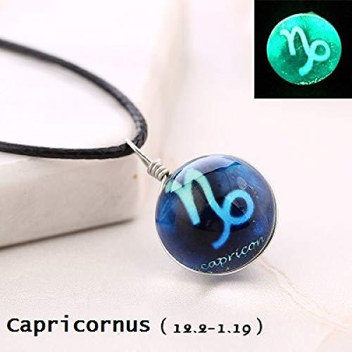 Collar De Mujer, Capricornus Amuleto Resplandor En La Oscuridad 12 Con