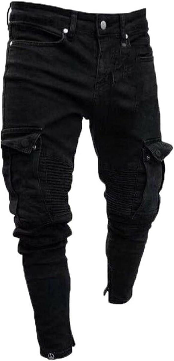CACLSL Long Pencil Pants Ripped Jeans Slim Spring Hole Men's Fashion Thin Skinny Jeans Hip-hop Pants