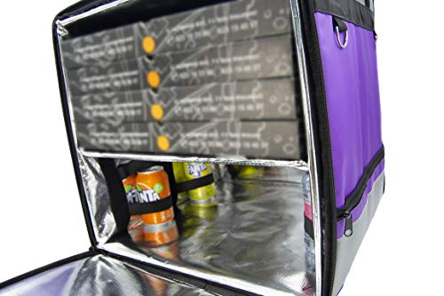 Lollipoper: Mochila de Reparto Isotérmica 45x45x45 cm para Entrega de Pedidos de Comida en Moto y bicicleta, Morada, Pizza,Hamburguesa, Bebida, Impermeable.