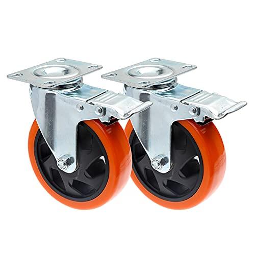 Ruedas para Muebles,Ruedas para 1pc 4 pulgadas de 5 pulgadas muebles rueda de rueda con rueda de rodillo giratoria giratoria de goma suave de freno para la plataforma de la máquina de la máquina de se