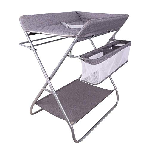 LNDDP Baby Changing Table Foldable with Safety Straps, Save Space Infant Diaper Station Nursery Organizer for Newborn (Gray)