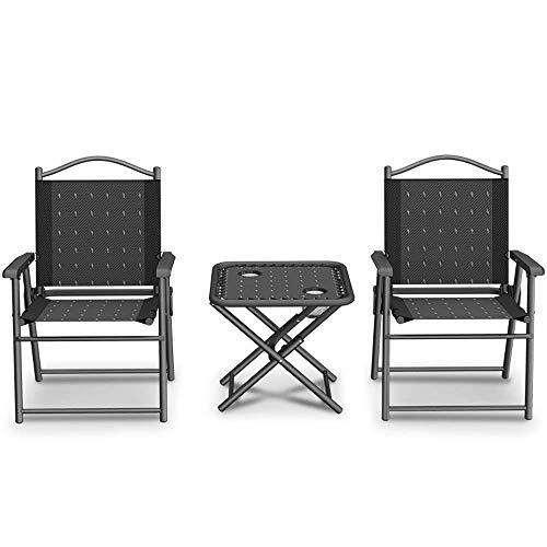 WYZXR Tragbarer atmungsaktiver Oxford-Stoffklapptisch und Stuhl dreiteiliger Strandbeobachtungstische und -stühle des Sonnenuntergangs am Meer, schwarz
