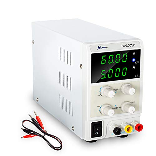 60V 5A DC Bench Power Supply Variable Precision Adjustable Regulated Power Supply 4-Digital LED Display-with Alligator Leads and US Power Cord for Lab Equipment, DIY Tool, Repair, Electronic Research