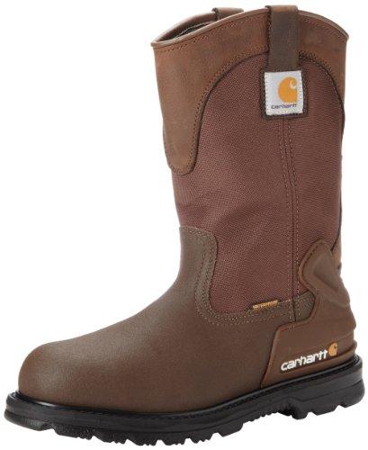 Carhartt Men s 11  Wellington Waterproof Steel Toe Pull-On Work Boot CMP1270, Brown Oil Tanned Leather Brown Cordura Nylon Brown Coated Leather, 11.5 W US