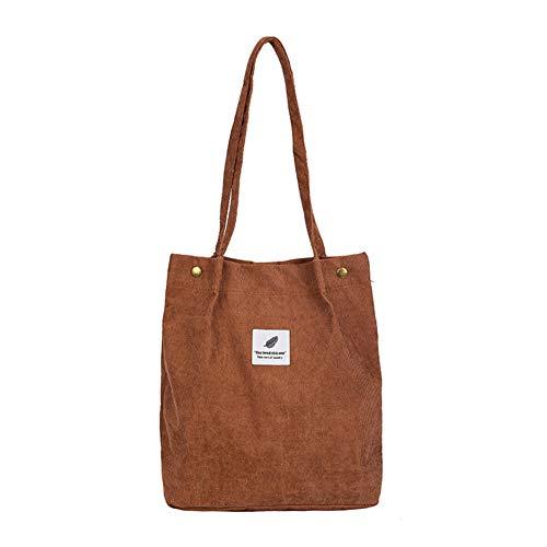 jEZmiSy Lässig große Kapazität Cord Shopping Umhängetasche Frauen Reisen Tote Handtasche Brown
