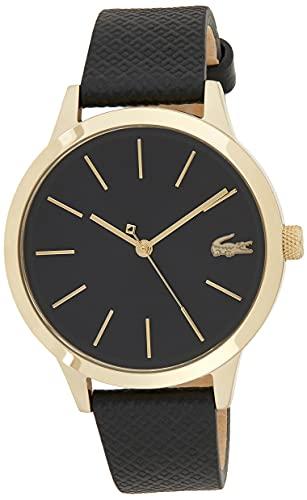 Lacoste Damen Analog Quartz Armbanduhr mit Lederarmband 2001090
