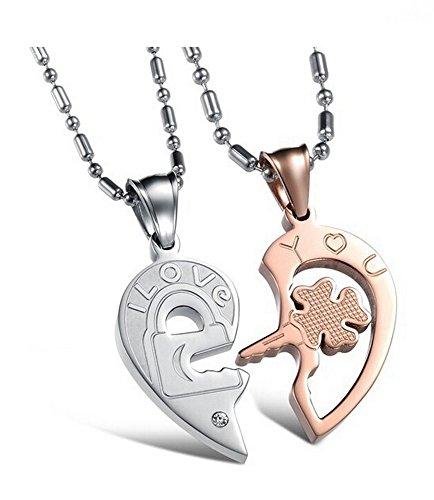 DAYAN & vuole, Titanium Open Your Heart consultarli Ich liebe dich chiave e Lock ciondolo a forma di collana di Corea del danese cara-art-Anniversario/fidanzamento/promessa simbolo, Titanio, colore: Silber & rosarot, cod. XIANGL-039