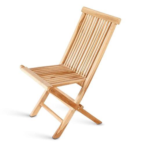 SAM Teak-Holz Klappstuhl, Menorca, zusammenklappbarer Hochlehner aus Massivholz, Balkon, Terrasse oder Garten