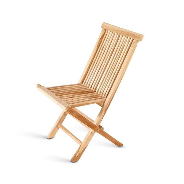 Teak Klappstuhl Menorca, Teakholz geschliffen, naturbelassen strapazierfähig ohne Armlehnen, Sitzkomfort