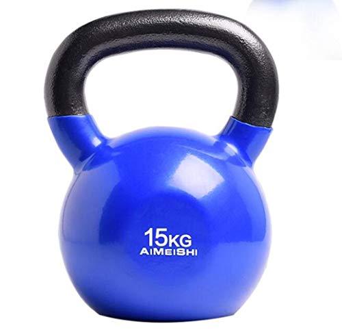 RPOLY Emitir Planchar Kettlebells, Fitness Kettlebell Pesas Rusas portátiles músculos Peso Caldera-Campana Profundo del hogar en Cuclillas Brazo,Blue_15kg
