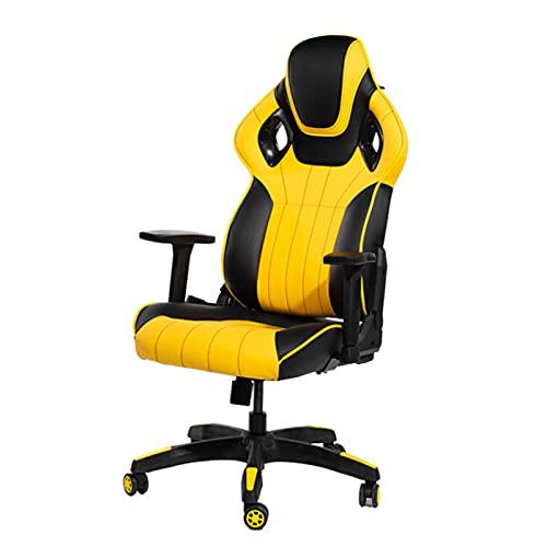 Silla de oficina para videojuegos, silla de oficina con respaldo alto, silla de escritorio, de piel, ergonómica, ajustable, giratoria, con reposacabezas y soporte lumbar, color amarillo