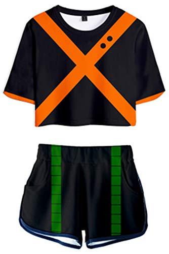Xiemushop Anime My Hero Academia 2 Stücke Bakugou Katsuki Outfits 3D Gedrucktes Unisex T-Shirt & Shorts Set Herren Kurzarm T Boardshorts Casual Trainingsanzüge Tops Und Shorts Pyjama-Sets