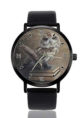 Armbanduhr mit Eulen-Buch, für Damen und Herren, Quarzuhrwerk, schwarzes Armband