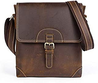 Men's Retro Genuine Leather Vintage Cowhide Flip Single Shoulder Bag (Color : Coffee)