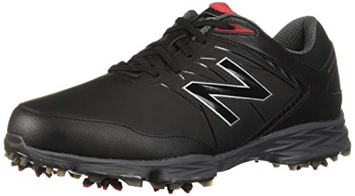 New Balance Men's Striker Waterproof Spiked Comfort Golf Shoe, Black/red, 8 D D US