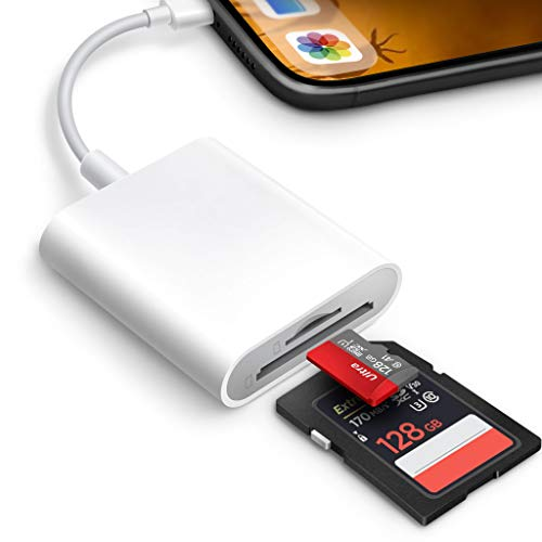 SD Card Reader for iPhone iPad,Memory Card Reader DSLR Camera Trail Game Camera Dash Cams SD Reader,Memory Card Camera Reader Adapter,Plug and Play,No App Required