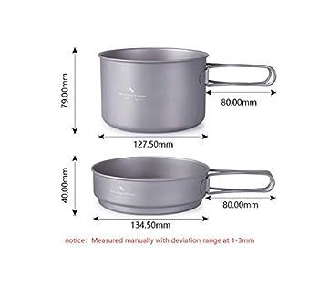 zyvoyage Ensemble de poêles en titane 500 ml, 900 ml, 1080 ml - Pour le camping, la randonnée, le pique-nique, la cuisine (500 ml + 900 ml)